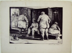 In the locker room - Lithograph