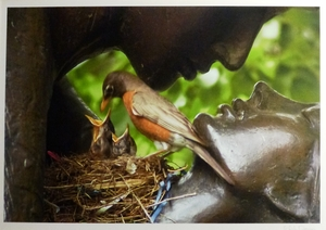 Lovebirds Nesting Between Romeo & Juliet Bronze Sculpture in Central Park
