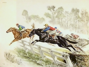 Racing Horses Jumping a Fence