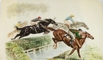 Racing Horses Leaping Over a Brook