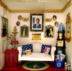 Sitting Room with Portraits of First Family