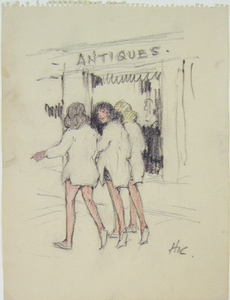 Three women by an antiques store. Nantucket.