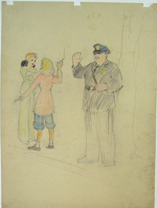 Traffic police. Nantucket. Original Drawing by Henry Ives Cobb