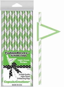 Cupcake Creations, Fashion Straws & Name Flags, Light Green Stripes, 24 Pk, 7018