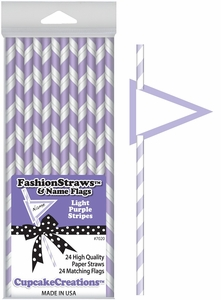Cupcake Creations, Fashion Straws & Name Flags, Light Purple Stripes 24 Pk, 7020