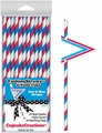 Cupcake Creations, Fashion Straws & Name Flags, Red & Blue Stripes, 24 Pk, 7016