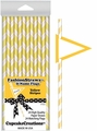 Cupcake Creations, Fashion Straws & Name Flags, Yellow Stripes, 24 Pk, 7025