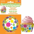 Cupcake Creations, No Muffin Pan Required Baking Cups, Rainbow Dots, 90462