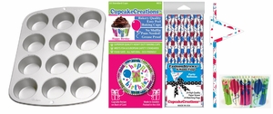 Happy Birthday Party Pack, Muffin Pan, Baking Cups, Fashion Straws & Name Flags