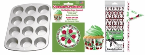 Lady Bugs Party Pack, Muffin Pan, Baking Cups, Fashion Straws & Name Flags