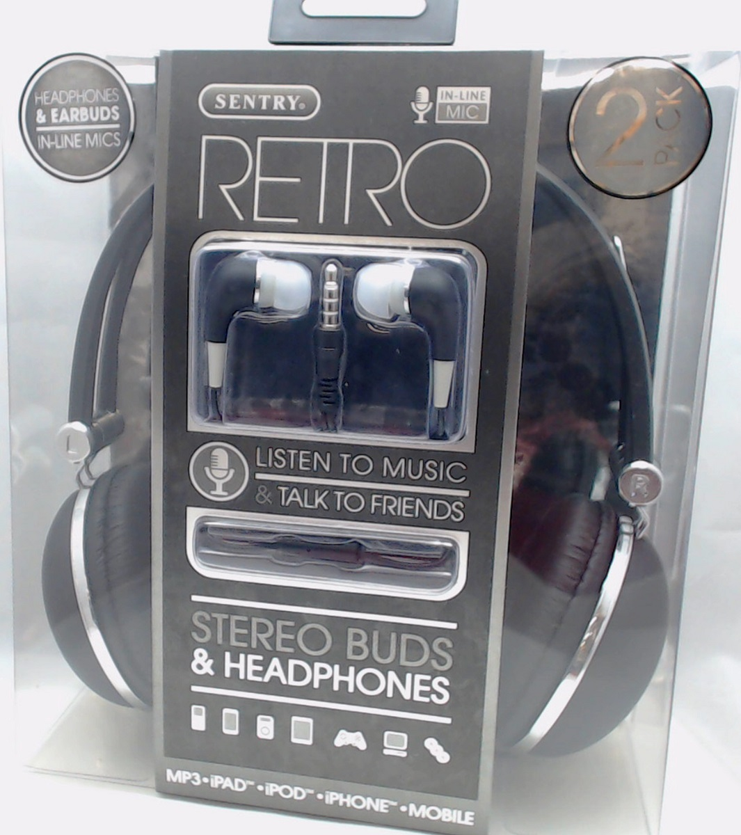 Hc400bl Sentry Retro Headphones Amp In Ear Buds With In