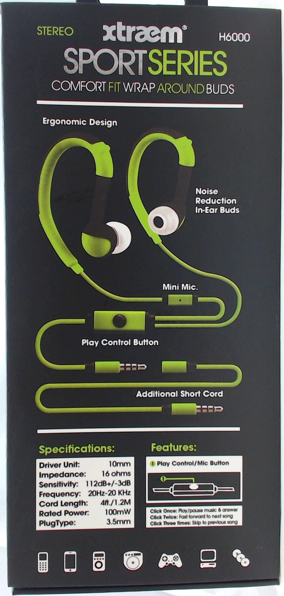 H6000 Comfort Fit Wrap Around Ear Buds With Mic