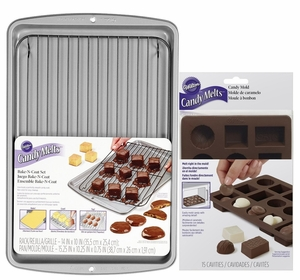 Wilton Candy Melts Bake-N-Coat Set With Box Of Chocolates Mold Kit, WCM-8515KIT