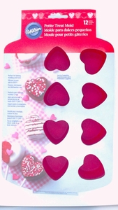 Wilton Silicone, 12 Cavity Bite-Size Heart Treat Mold, 2105-4860