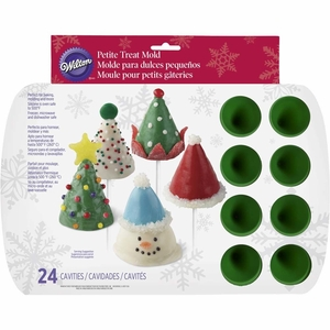 Wilton Silicone Bakeware, 24 Cavity Mini Christmas Cone Mold, 2105-0074