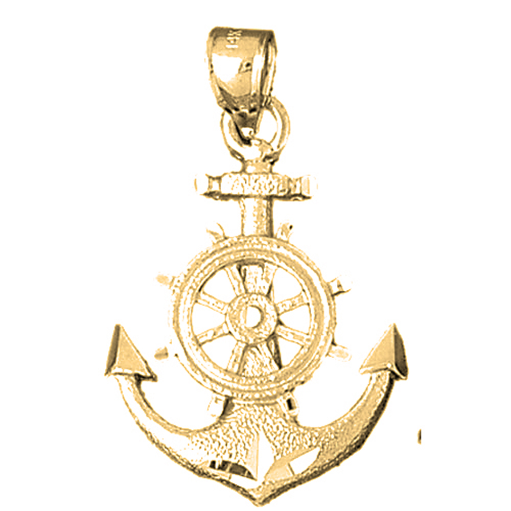 Jewels Obsession 14K White Gold Anchor With Ships Wheel Pendant 24 mm