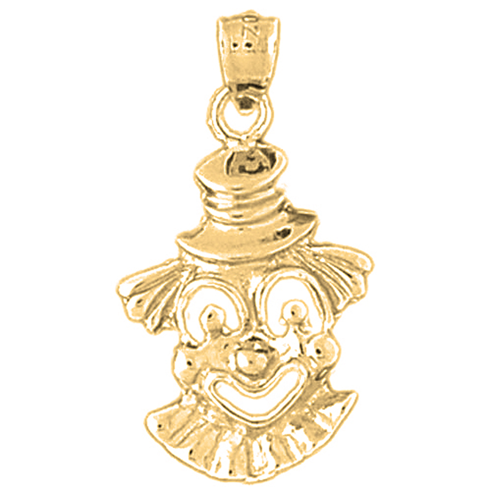 14k Yellow Gold Clown Pendant