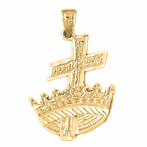 10K, 14K or 18K Gold Cross and Crown Pendant