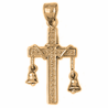 10K, 14K or 18K Gold Cross With Bell Pendant