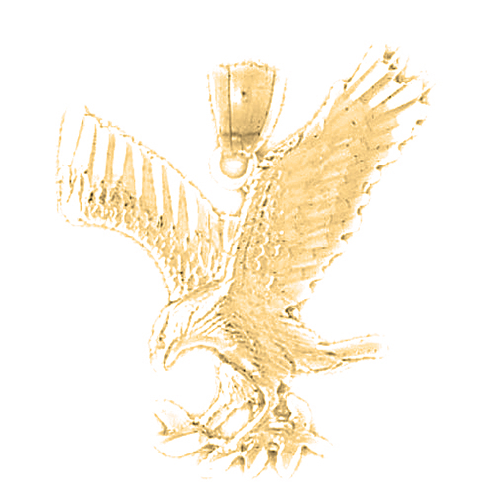 Necklaces Fashion 31 mm Jewels Obsession 14K Yellow Gold Eagle ...