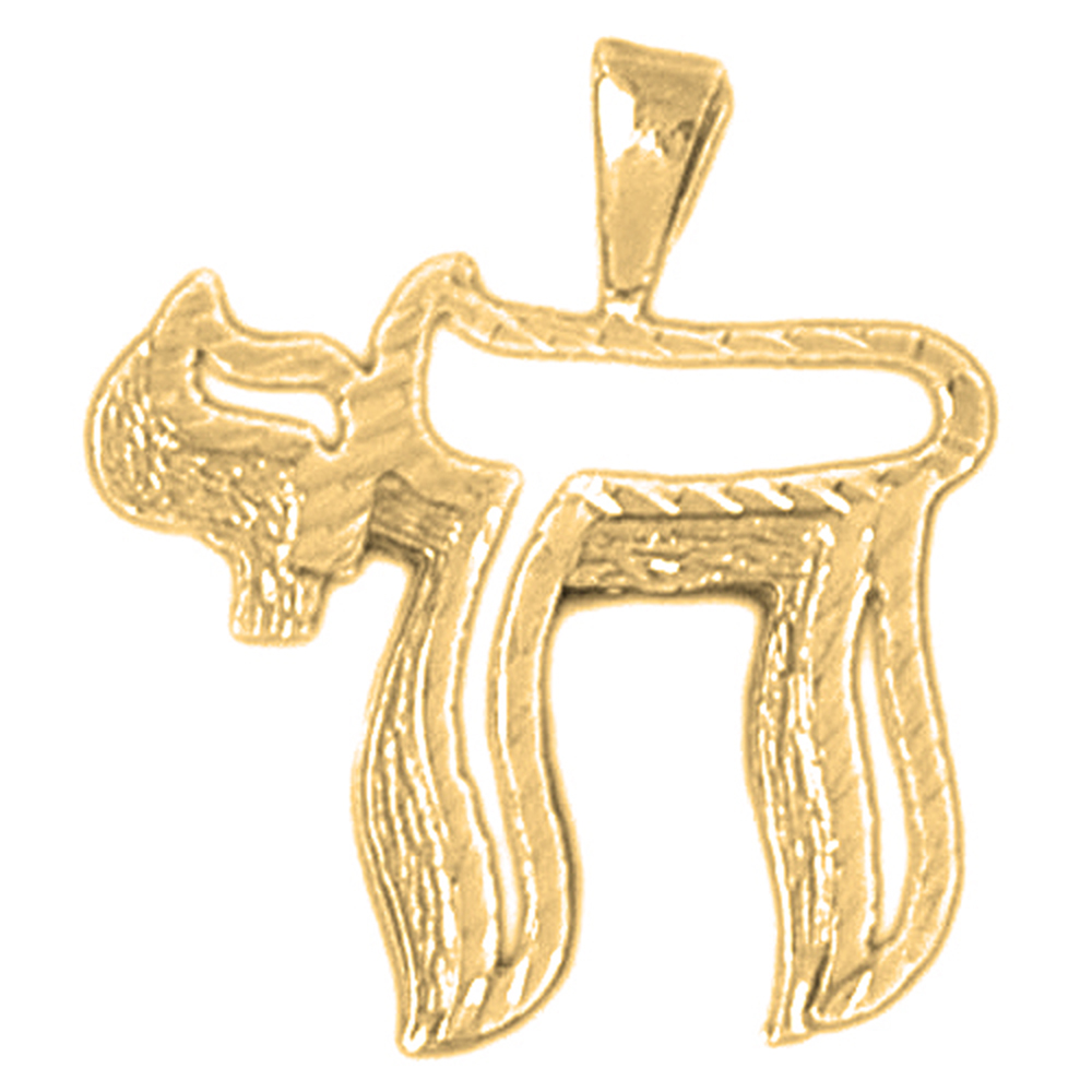 pendant chai jewish gold or
