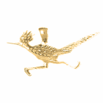 10K, 14K or 18K Gold Roadrunner Pendant