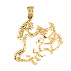 10K, 14K or 18K Gold Scuba Diver With Coral Pendant