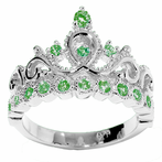 14K Gold Princess Crown with Emerald Birthstone Ring (May Birthstone)