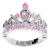 14K Gold Princess Crown with Pink Tourmaline Birthstone Ring (October Birthstone)