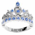 14K Gold Princess Crown with Sapphire Birthstone Ring (September Birthstone)