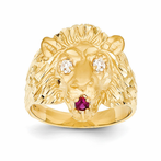 14K Lion With CZ Eyes And Red Synthetic Tongue Ring