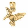 14K or 18K Gold 3D Hummingbird Pendant