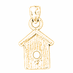14K or 18K Gold Bird House Pendant