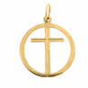 14K or 18K Gold Cross in Circle Pendant