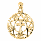 14K or 18K Gold Cross In Star and Circle Pendant