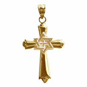 14K or 18K Gold Cross With Star of David Pendant