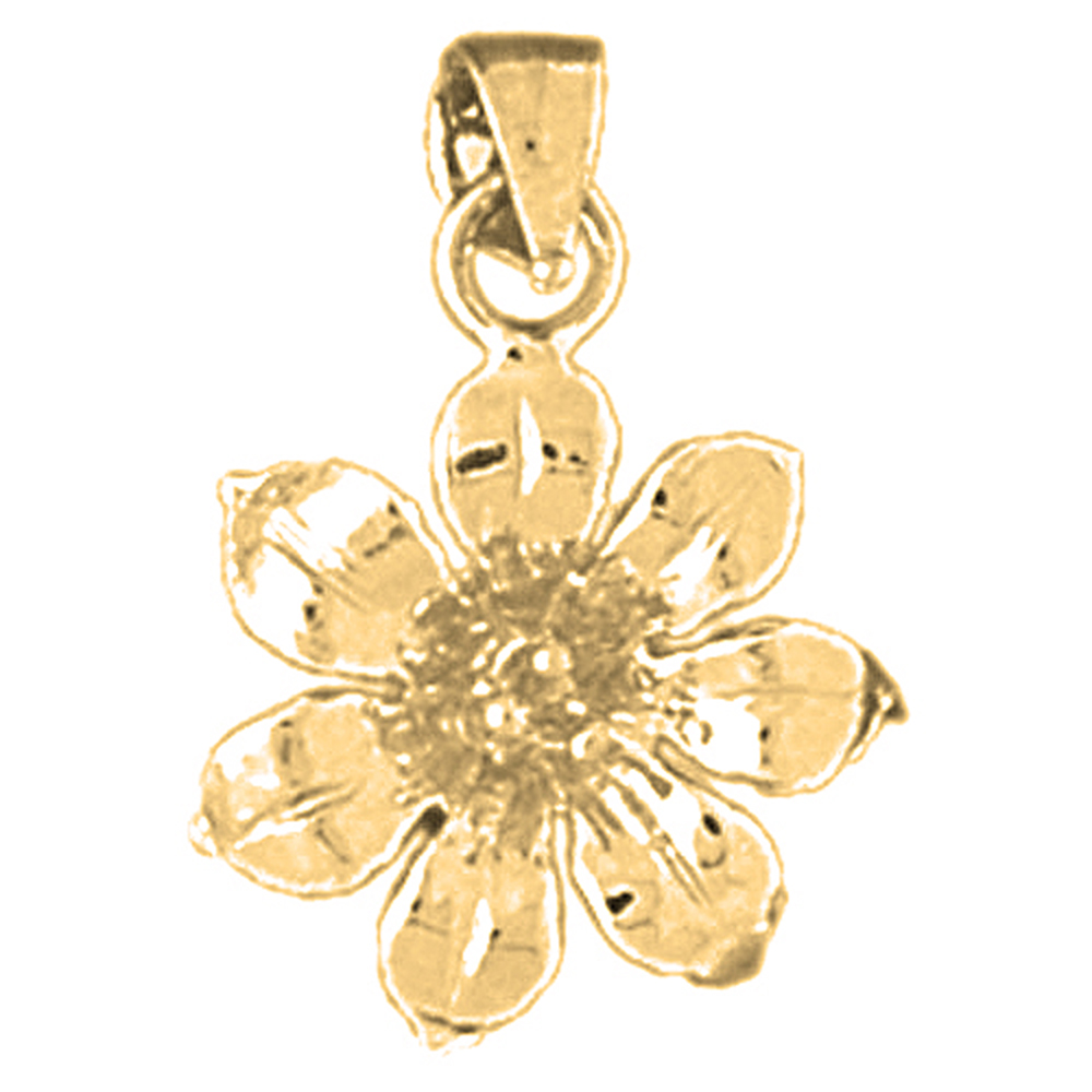14K Yellow Gold Rose Flower Pendant Jewels Obsession Flower Pendant 21 mm