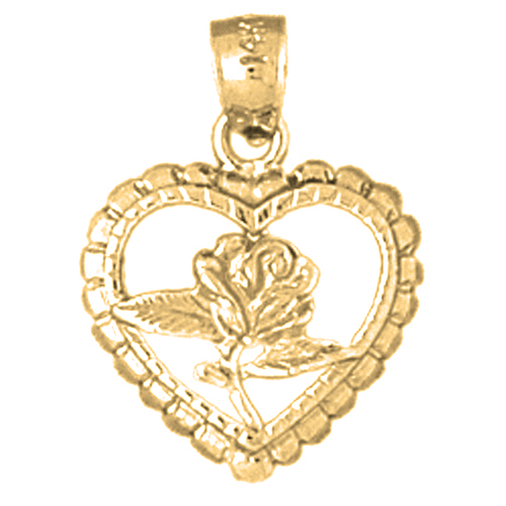 14k Yellow Gold Heart with Rose Pendant