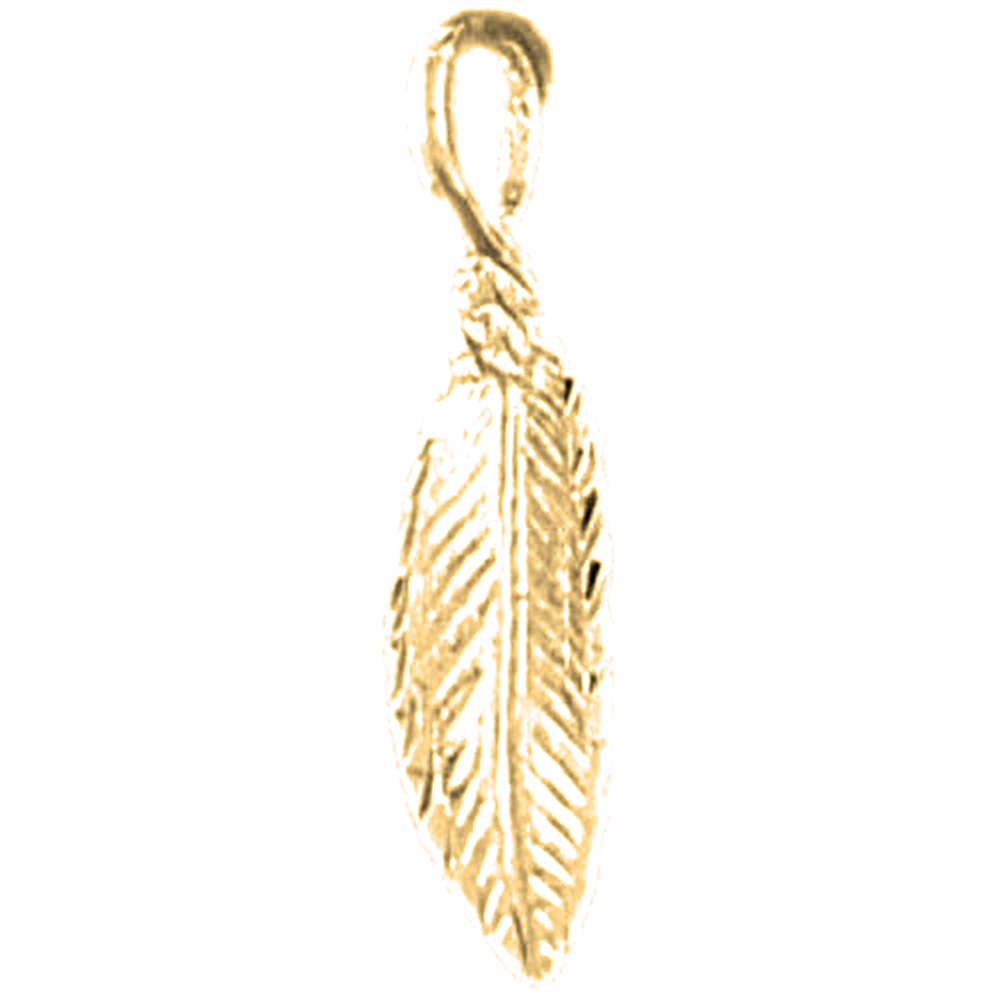yellow gold in leaf pendant