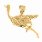 14K or 18K Gold Ostrich Pendant