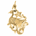14K or 18K Gold Peacock Pendant