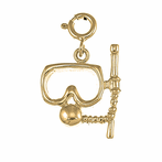 14K or 18K Gold Scuba Mask And Snorkel Pendant