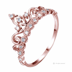 14K Rose Gold Dainty CZ Princess Crown Ring