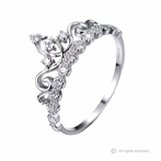 14K White Gold Dainty CZ Princess Crown Ring