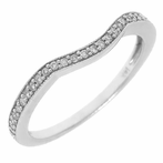 14K White Gold Diamond Lady's Curved Band