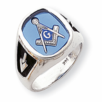 14K White Gold Enameled Synthetic Stone Mens Masonic Ring