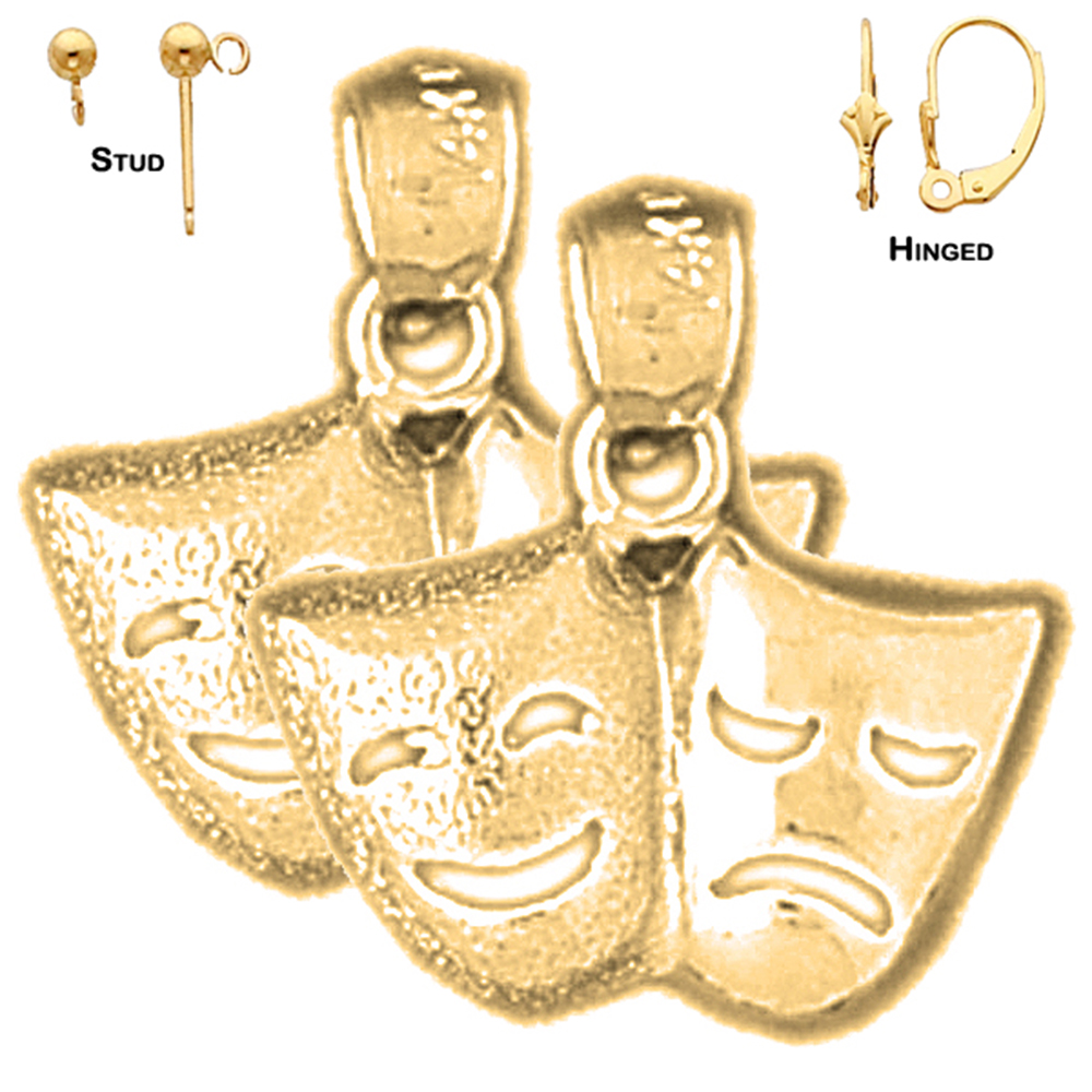 Cry Later Pendant Laugh Now 16 mm Jewels Obsession 14K Yellow Gold Drama Mask