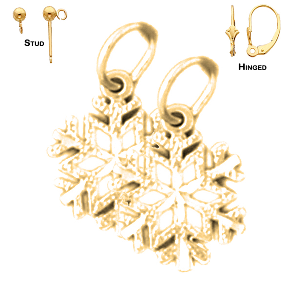 14k Yellow Gold 16mm Snowflake Earrings Our Selection