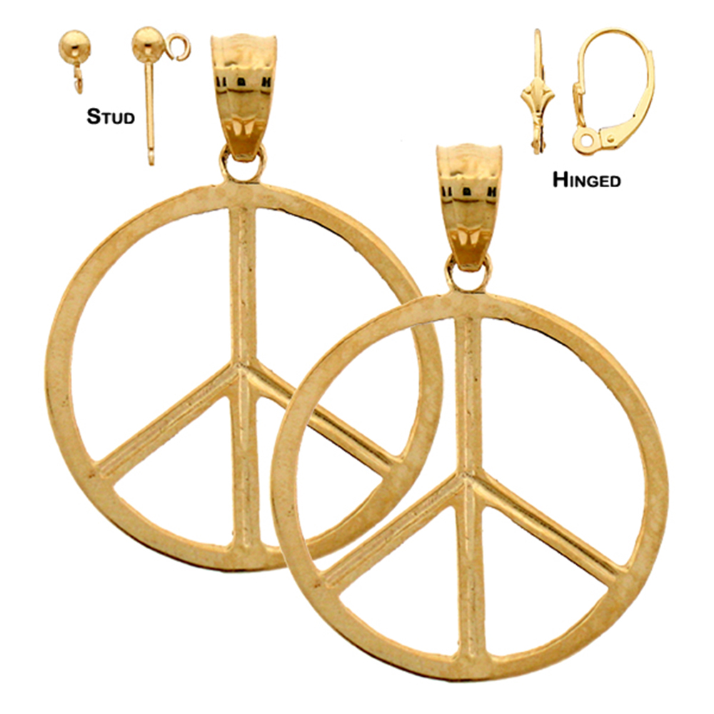 14k Or 18k Gold 22mm Peace Sign Earrings