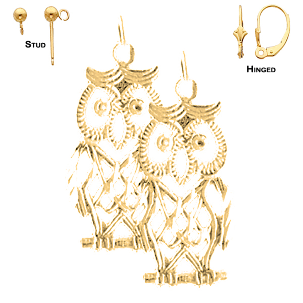 14k Yellow Gold 24mm Owl Earrings Our Selection Of